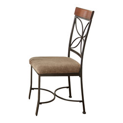 Steve Silver Furniture - Steve Silver Sanderson Side Chair in Dark Metal w/ Brown Upholstery [Set of 2] - Side Chair in Dark Metal w/ Brown Upholstery belongs to Sanderson Collection by Steve Silver Experience warmth and comfort in dining with the Sanderson side chairs. The metal side chairs feature a petal design back, bentwood cap rail and durable brown polyester seat.   Side Chair (2)