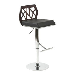 Euro Style - Sophia Adjustable Stool - Refreshing and modern with an intriguing edge, this adjustable bar stool will be an eye catching addition to any decor. Highlighted by a laser cut MDF back and a faux leather upholstered seat, the stool has a chrome colored steel base and is available in your choice of color options. Wenge-stained, oak veneered wood back with stylized cutouts. Black leatherette over foam seat. Chromed steel base and footrest. Swivel and gas lift. Design by Jan Sabro. Easy to clean, durable leatherette seat. Adjustable height from 22- 32 in.. Color/Finish: Wenge/Black/Chrome. 17 in. L x 16.5 in. W x 31 in. H. Assembly InstructionsIf you ever wanted to invite Frank Lloyd Wright over for a cocktail, he mightve passed on the olive and stared at the chair. An intriguing cutout design on the back combined with upholstery and chrome make the Sophia chair a study in form and function.