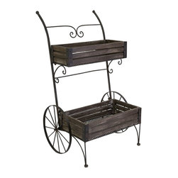 Imax - iMax Fairbanks Wood Planter Cart on Metal Wheels X-41011 - The picturesque Fairbanks planter cart will bring timeless charm to your indoor garden or enclosed patio.