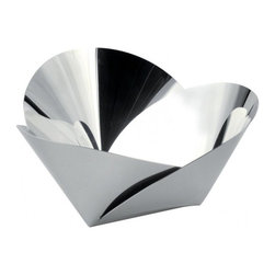 """Alessi - Alessi """"Harmonic"""" Basket - What do you get when your cross a fortune cookie, origami, mirror-polished stainless steel and a basket? When these seemingly disparate styles collide you get a fabulously unique pannier, perfect for just out of the oven baked rolls or an arrangement of clementines poised for consumption."""