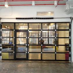 NY Loft - Black Aluminum Garage Door & Clear Glass with Passing Door - ETO Garage Doors