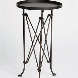 Metal Accordion Side Table | Urban Outfitters - This would also make a nice tub side table. It comes in an antique bronze–like finish and the price is right.