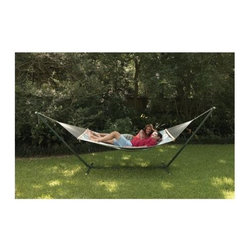 "Texsport - Texsport - Sunset Bay Hammock/ Stand Combo - 110"" x 57"" overall size. Cool durable polyweave. P.V.C. coated bed with braided cotton rope. Extra wide double size. Weight limit 400 lbs.. Hardwood spreader bars and sturdy welded suspension rings. Stand: 191"" x 48"" x 46"" h."
