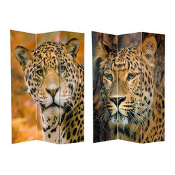 Oriental Unlimited - Double Sided 6 ft. Tall Leopard Canvas Privac - One double-sided divider, both sides shown in image. Lightweight, portable and practical privacy screen room divider as well as a decorative screen. A fold up room divider in a family or children's room. Can hide a mess on short notice, as well as adding a delightful decorative accent. Can also provide huge wall photos and wall art prints, easily mounted on any large empty wall. Exceptional high quality close-up photography with stunning color and texture. These panels wont allow light and shadows. Well crafted and sturdy kiln dried wood frame panels covered with hardy and printable poly-cotton blend canvas. Each panel: 15.75 in. W x 70.88 in. H