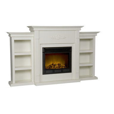 Holly & Martin - Fredericksburg Electric Fireplace with Bookcases, Ivory - If you are looking for an elegant accessory for your home, this is the piece for you. This beautiful and functional fireplace features an ivory finish that looks great in any room that you place it in. A classic floral design is carved across the top of this fireplace, above the firebox. A bookcase on either side of the fireplace provides space and storage for all of your favorite readings, media and home decor accessories. Requiring no electrician or contractor for installation allows instant remodeling without the usual mess or expense. In addition to your living room or bedroom, try placing this fireplace in your home office. Use this great functional fireplace to make your home a more welcoming environment.