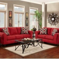 Chelsea Home Lehigh Sofa and Loveseat Set - Patriot Red - Bring a real looks home with the Chelsea Home Lehigh Sofa and Loveseat Set - Patriot Red. Ultra cozy, ultra soft, and ultra comfortable, this set will have you craving nights in. Quality time for the whole family never felt, or looked, so good.About Chelsea Home FurnitureProviding home elegance in upholstery products such as recliners, stationary upholstery, leather, and accent furniture including chairs, chaises, and benches is the most important part of Chelsea Home Furniture's operations. Bringing high quality, classic and traditional designs that remain fresh for generations to customers' homes is no burden, but a love for hospitality and home beauty. The majority of Chelsea Home Furniture's products are made in the USA, while all are sought after throughout the industry and will remain a staple in home furnishings.
