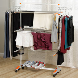 None - Badoogi Foldable Heavy Duty and Compact Storage Drying Rack System - Use this foldable drying rack in your laundry room for plenty of space to dry all of your laundry. With areas for drying hanging clothes,shoes,and folded linens,this rack can accommodate all of your garments to reduce dryer usage.
