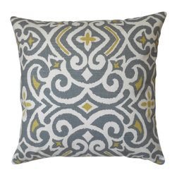 Gray And Citrine Ikat Decorative Pillow Cover - One decorative pillow cover made to fit a size 18x18 pillow insert. Gray and citrine ikat pattern centered an aligned on both the front and back sides. Finished with a concealed bottom zipper. Pillow insert is not included.