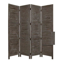 Nantucket Screen, Grey - Nantucket 4 Panel Floor Screen has a frame and panels of solid cedar wood that is stained in a washed soft green. This handmade Floor Screen is finished on both sides