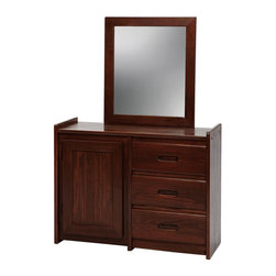 Chelsea Home - 3-Drawer Dresser with Storage Door and Mirror - Rustic style. Hand finished stain with three step process to compliment natural wood grain. Hidden shelving. 1 in. mirror thickness. Constructed for strength and durability. Warranty: One year. Made from solid pine wood. Dark finish. Made in USA. No assembly required. Mirror: 27 in. W x 31 in. H (9 lbs.). Dresser: 43 in. W x 17 in. D x 31 in. H (85 lbs.). Overall: 43 in. W x 17 in. D x 62 in. H (94 lbs.)