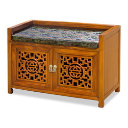 China Furniture and Arts - Rosewood Longevity Design Bench - A unique bench with two doors. Perfect for foyer where the space behind the doors can be used to store shoes. As for the family room and living room, another space is provided for you to hide often used items to keep the room tidy. Made of rosewood with longevity symbol hand-carved on the doors. Its natural rosewood finish enhances the beauty of the wood grains. Silk cushion is included. (Assembled.)