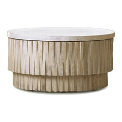 Kathy Kuo Home - Rajasthan Global Bazaar Terrazzo Stone Round Coffee Table - Rajasthan is known as the land of kings. Admiring this side table, carved out of stone from Rajasthan, you will feel like royalty. Whether it's outside on the patio or inside next to the fireplace, the natural terrazzo SafeStone table is a gorgeous focal point. Alternating stone placement creates a unique design on this one-of-a-kind treasure.