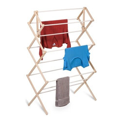 "Heavy Duty Wood Accordion Drying Rack - Honey-Can-Do DRY-01638 Accordion-Style Wood Drying Rack, White/Natural. The accordion-style body has coated rods to prevent snagging and slipping with a smart center bar that's great for air-drying longer items. Measuring 41""H x 14''W x 29""D, this simple but sturdy drying rack offers a tremendous value in natural clothes drying. Unlike a wall-mounted unit, this portable rack can be used anywhere including the laundry room, balcony, bathroom, or kitchen and folds down to 2"" flat for easy storing. Save on energy costs while protecting the environment and increasing the life of your garments."