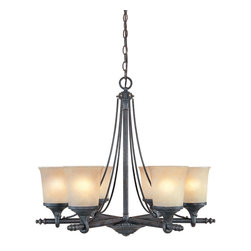 Designers Fountain - Designers Fountain 97386-WSD 6-Light Chandelier - Weathered Saddle Finish, Satin Crepe Glass/Shade Handsomely styled ironwork and hand forged details display a casual rustic Spanish style.
