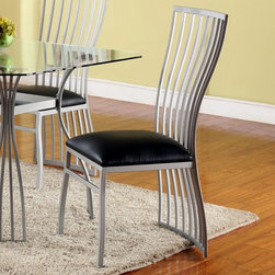Chintaly Imports - Aileen Fan Back Contour Side Chair - Set of 2 - Fan-back contour side chair. Finished in textured Silver and upholstered in durable Black PU.
