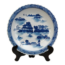 Oriental Unlimited - 14 in. Dia. Blue & White Landscape Porcelain - Chinese decorative charger, for dry use only. Often displayed upright on a folding wood stand. Beautiful decorative display on a buffet, server or break front. This item is shot with the stand for illustration purposes, the stand is sold separately. Please select the 14 in. size of Rosewood Plate Stand.. 14 in. Dia. x 2 in. H (5.5 lbs.)