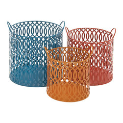 Unique and Matchless Metal Basket, Set of 3 - Description: