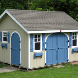 Garden Shed - Garden Shed with Duratemp siding, window trim, and flower boxes.