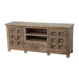 Low TV Cabinet With Old Doors - Natural wood low TV media cabinet with antique Indian doors. Solid wood.
