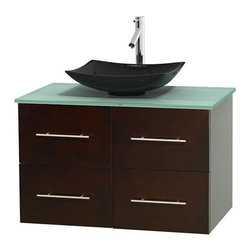Wyndham Collection - 36 in. Single Bathroom Vanity in Espresso, Green Glass Countertop, Arista Black - Simplicity and elegance combine in the perfect lines of the Centra vanity by the Wyndham Collection . If cutting-edge contemporary design is your style then the Centra vanity is for you - modern, chic and built to last a lifetime. Available with green glass, pure white man-made stone, ivory marble or white carrera marble counters, with stunning vessel or undermount sink(s) and matching mirror(s). Featuring soft close door hinges, drawer glides, and meticulously finished with brushed chrome hardware. The attention to detail on this beautiful vanity is second to none.