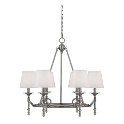 Savoy House - Foxcroft 6-Light Chandelier - Foxcroft will add an elegant touch to your home decor with clean lines, a lustrous Brushed Pewter finish and white dupioni shades. Designed by Brian Thomas, these stunning fixtures mix classic design with contemporary flair.