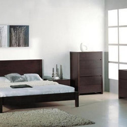 Stylish Wood High End Contemporary Furniture Set - Etch platform bedroom set in wenge.