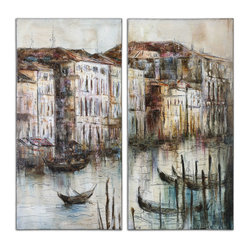 Canal View Hand Painted Art Set/2