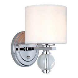"Troy Lighting - Troy Lighting B1580 Bentley 1 Light 10.25"" Bathroom Wall Sconce - Ensure your d�cor is a sparkling success with Troy Lighting�s Bentley 1-Light Wall Sconce. The drum-shaped linen shade adds textural interest to the reflective Polished Chrome hardware and shimmering Clear Glass accent. With its classic lines and graceful curves, the Bentley sconce complements a range of interiors, from bathroom to bedroom. Accommodates one 60-watt bulb."