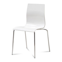 DomItalia Furniture - Gel-B Stacking Chair in White (Set of 2) - Ideal for any dining table, the Domitalia Gel-B Stacking Chair in White with its sleek shape keeps everyone comfortable while staying stylish! Made in Italy.