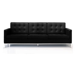 Florence Knoll Style Sofa in Modena Black Leather - The sleek silhouette serves to encompass an inherently comfortable and wide seat with high raised armrests. The geometric structure and deep-seated buttons immediately conjure up images of Ludwig Mies van der Rohe's Barcelona Chair, in what can only be a complimentary comparison.