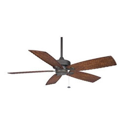 Fanimation - Fanimation Cancun 52 Damp Ceiling Fan in Oil-Rubbed Bronze - Fanimation Cancun 52 Damp Model FP8009OB in Oil-Rubbed Bronze with All Weather Composite Antique Woven Bamboo Finished Blades.