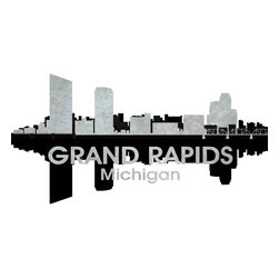 Grand Rapids Black And White Concrete Jungle Print - This mixed-media artwork makes it easy to see things in black and white. Use it to show off your city pride, with digital and photographic layers that capture all the charm of the Michigan city known for its historic furniture-making center and river for which it was named.