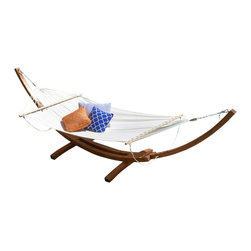 Great Deal Furniture - Weston Larch Wood & Canvas Hammock w/ Stand - The Weston Hammock will add tranquility to any outdoor patio or pool area. This canvas hammock comes complete with a larch wood frame, a waterproof and durable material, so it can be set up anywhere and will last a long time. It's a great piece for reading or napping in the outdoors. Relax and enjoy the finer things in life with the Weston Hammock.