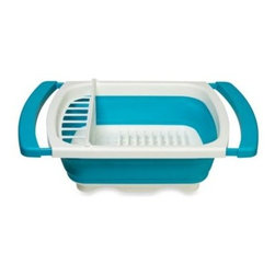 """Progressive - Collapsible Over the Sink Dish Drainer - This collapsing over the sink dish drainer uses up to 2/3 less storage space than a standard counter drainer. It holds up to eight plates measuring up to 10"""" each, and has a removable silverware tray."""