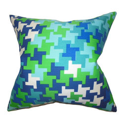 "The Pillow Collection - Ciel Geometric Pillow Blue Green - Lend an artistic appeal to your home with this fancy throw pillow. This accent pillow features a unique geometric pattern in shades of green, blue and white hues. With a contemporary design, this 18"" pillow will add comfort and dimension to your sofa or bed. Crafted in the USA, this indoor pillow is made of high-quality materials."