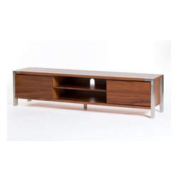 Moe's Home Collection - Moe's Home Winton Large TV Stand in Walnut - Shelf closing drawers. Pre-drilled holes for easy wiring.
