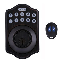 Miseno - Miseno MHDWMKPD-AB Keypad Deadbolt Set w/LED Button Pad & Remote - Aged Bronze - Keyless Entry Deadbolt Includes: