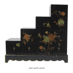 Black Color Peony Flower Graphic Leather Surface Tansu / Display Cabinet - You are looking at a unique black color stairs shape 10 drawers Tansu. There is a thin layer of artificial leather over wood and it has peony flowers graphic on the front and sides .