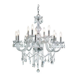 Trans Globe Lighting - Trans Globe Lighting HU-12 12 Light 2 Tier Crystal Candle Style Chandelier - Features:
