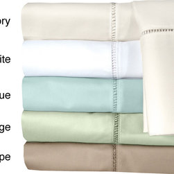Veratex - Grand Luxe Linford Egyptian Cotton Deep Pocket 300 Thread Count Sheet Set - This sheet set features a luxurious 300 thread count 100-percent Egyptian cotton construction. With an extra long and extra wide flat sheet to accommodate thick mattresses,a beautiful hem stitch design adorns the sheet and pillowcase.