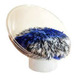Ultra Modern Pet - Mini Scoop Luxury Pet Bed, Clear-Blue, X-Small - This striking custom-made, ultra-modern pet bed is sure to turn heads! Acrylic dome-shaped bed frame with super-soft Mongolian faux fur cushion. Mini design suitable for small cats and toy breed dogs. Cushion secured to bed frame. Fur may be washed with damp cloth.