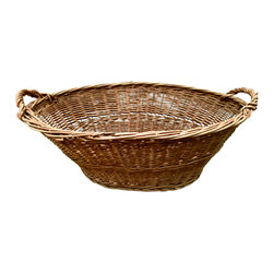 French Laundry Basket - French oval laundry basket with double handles used for gathering the laundry after hanging on the line all day. The old fashion way of hanging out the laundry and gathering in the basket at the end of the day is sure to bring back childhood memories.
