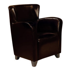 Coaster - Coaster Accent Seating Brown Vinyl Chair - Coaster - Club Chairs - 900234 - With its versatile high back and curvaceous track arms this upholstered chair makes a beautiful complement to any style of decor. A sinuous spring base and curved seat back provide supportive comfort while bold track arms and a deep slightly scooped seat surround you with delightful style. Your choice of upholstery options lets you dress it up or dress it down to suit your tastes. A plush mocha microfiber is ideal for more casual spaces while bold brown red or white vinyl upholstery offers a slightly contemporary and impossibly stylish finish. This remarkable accent collection is sure to have the stylish seating you've been searching for. An assortment of upholstered chairs chaises exposed wood arm chairs and chair and ottoman sets have been gathered to create an accent collection designed to bring enhanced style functionality and livability to nearly every room of your home. Seating is presented in nearly every shape and size from luxurious chaises that invite you to linger to classic Louis style arm chairs that speak to your traditional side. An array of upholstery options lends a custom look to any space and makes finding a seating selection that suits your style a surprisingly simple task. Classic shapes contemporary finishes and even a few retro styles can all be found in this versatile collection.