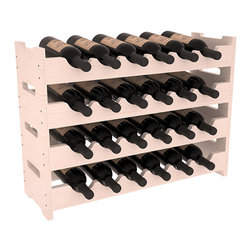 24 Bottle Mini Scalloped Wine Rack in Pine with White Wash Stain + Satin Finish - Stack four 6 bottle racks for proper storage of 24 wine bottles. This rack requires light hardware for assembly and is ready to use as soon as it arrives. Makes the perfect gift and stores wine on any flat surface.
