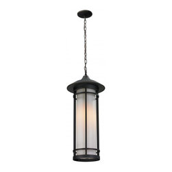 One Light Oil Rubbed Bronze Matte Opal Glass Hanging Lantern - Today's contemporary homes as well as homes of the craftsmen style are particularly well suited with the classic styling of this large outdoor chain light. This fixture has oil rubbed bronze finish with matte opal glass.