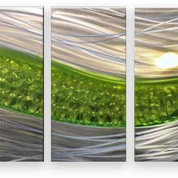 Matthew's Art Gallery - Metal Wall Art Abstract Modern Sculpture Silver Green Path - Name: Green Path