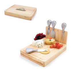Picnic Time - San Diego Chargers Asiago Folding Cutting Board With Tools in Natural Wood - The Asiago is a folding cutting board with tools that is another Picnic Time original design. This compact, fully-contained split-level cutting board is made of eco-friendly rubberwood. Lift up the top level of the board to reveal four brushed stainless steel cheese tools: a pointed-tipped cheese knife, cheese fork, cheese chisel knife, and blunt nosed hard cheese knife. The tools are magnetically secured to a wooden strip that lifts up so you can close the cutting board and display the tools. Designed with convenience in mind, the Asiago is great for home or anywhere the party takes you.; Decoration: Engraved; Includes: 4 brushed stainless steel cheese tools (1 pointed-tipped hard cheese knife, cheese fork, cheese chisel knife, and blunt nosed soft cheese knife