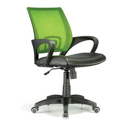 Lumisource - Officer Office Chair Lime Green - Work in comfort with this contemporary office chair. The Officer chair features a leatherette seat and colorful mesh back, lumbar support, 360 degree swivel, caster wheels for mobility, and adjustable tilt and tension, and armrests. Seat adjusts from 18 to 22 inches. 23 in. W x 19 in. D x 40 in. H