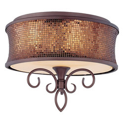 Maxim Lighting - Maxim Lighting 24160SBUB Alexander Transitional Semi Flush Mount Ceiling Light - Alexander collection is a fashion lighting at its best.  Inspired by a world famous clothing designer, the collection features graceful scrolls of metal finished in Umber Bronze that support Shimmer Bronze metal fabric shades.  Eash shade is lined in a soft gold fabric that casts a warm glow from within the fixture.  Dressed to kill, the Alexander colleciton will add beauty to any room environment.
