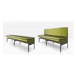Mancini Banquette - Banquette any one? This is one of my favorite solutions for seating around a table, and I love mixing banquettes with chairs. This bench is really a honey. I adore the channeled back and the unusual shape of the seat cushion.